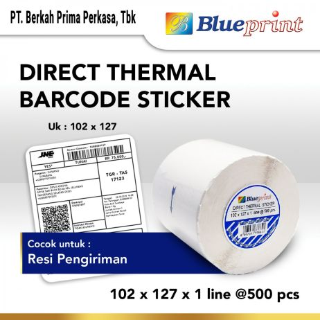 Sticker Label Direct Thermal Sticker Label Stiker BLUEPRINT 102x127x1 Line Isi 500 19 dts 102 127 1line 1