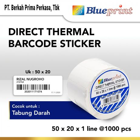 Sticker Label Direct Thermal Sticker  Label Stiker BLUEPRINT 50x20x1 Line Isi 1000 20  dts 50 20 1line 1