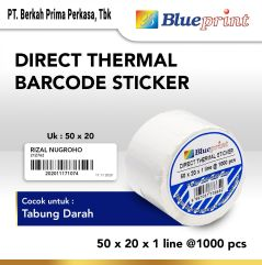 Direct Thermal Sticker  Label Stiker BLUEPRINT 50x20x1 Line Isi 1000