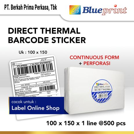 Sticker Label Direct Thermal Sticker Label Resi Online BLUEPRINT 100x150mm 500Pcs bp dts1001501 continuous