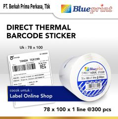 Direct Thermal Sticker Label Online Shop BLUEPRINT 78x100mm isi 300Pcs