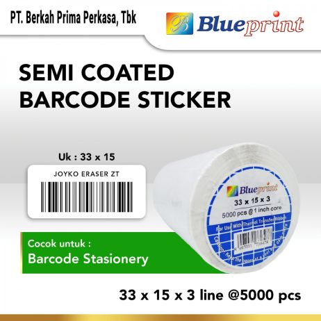 Sticker Label Sticker label Barcode 33x15mm 3 Line Semi Coated BLUEPRINT Core 1 isi 5000 Pcs  bp scs33153 slide 1