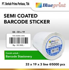 Sticker label Barcode 33x19mm 3 Line Semi Coated BLUEPRINT Core 1 isi 5000 Pcs