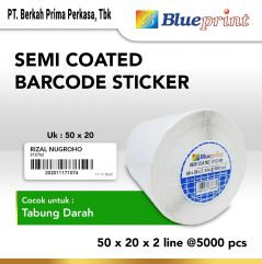 Sticker label Barcode 50x20x2 Line Semi Coated BLUEPRINT isi 5000Pcs
