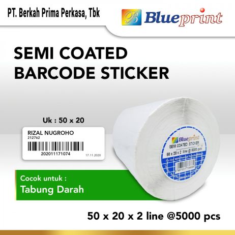 Sticker Label Sticker label Barcode 50x20x2 Line Semi Coated BLUEPRINT isi 5000Pcs bp scs50202 slide 1
