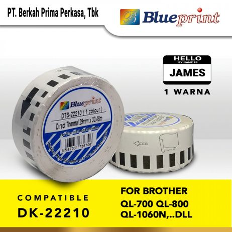 Sticker Label Label Barcode 22210 BLUEPRINT 29x3048m Continuous stiker Roll Brother dtr 22210 1