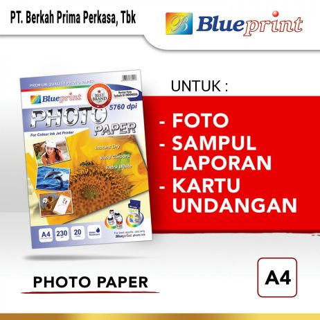 Kertas Foto Kertas Foto  Kertas Glossy  Glossy Photo Paper BLUEPRINT A4 230 gsm  photo paper a4 230gsm