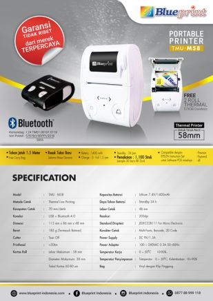 Knowledge Printer Thermal BLUEPRINT Portable Printer Bluetooth TMUM58