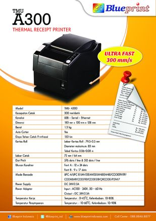 Knowledge Printer Thermal BLUEPRINT Thermal Receipt Printer TMUA300