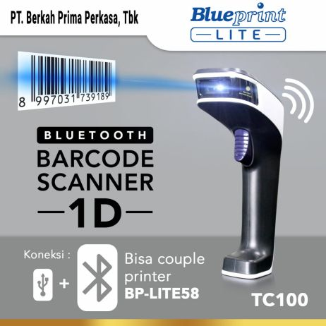 Printer Thermal Barcode Scanner CCD 1D Auto Scan USBBluetooth BLUEPRINT BP  TC100